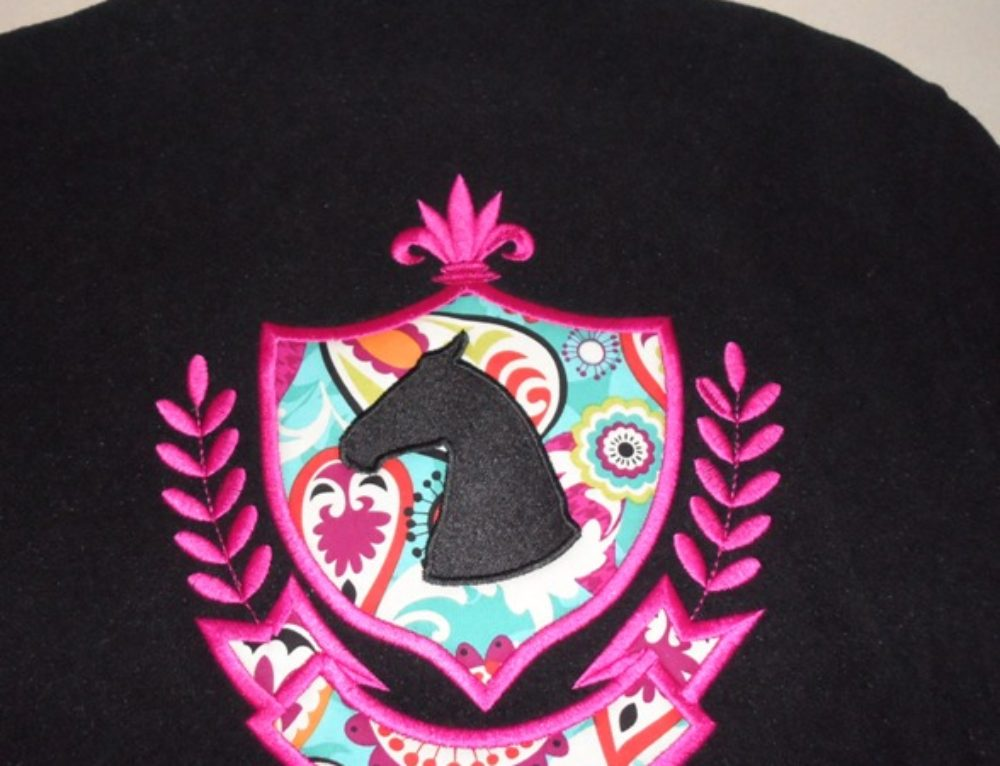 velvet rider horse head applique jacket